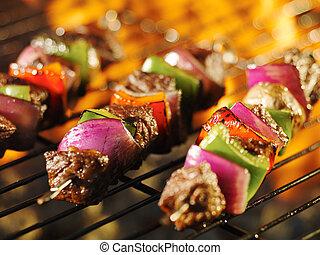 グリル, shishkabob, 料理, 串, 燃えている, ステーキ