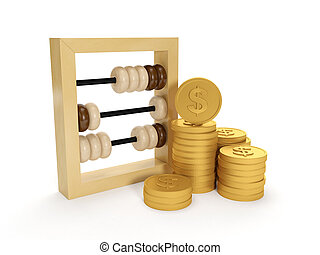 グループ, お金, illustration:, 口座, 背景, 白, accounting., 3d