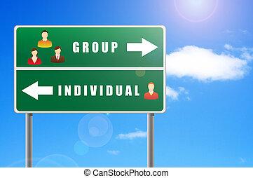 グループ, アイコン, テキスト, 人々, individual., 広告板