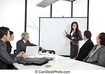 グループ, オフィス, ビジネス 人々, ミーティング, -, プレゼンテーション