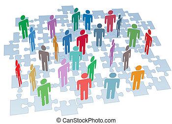 グループ, ネットワーク, パズル小片, 接続, 人的資源
