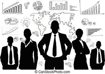 グループ, ビジネス 人々, グラフ, 黒, シルエット
