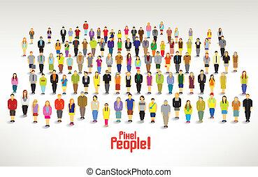 グループ, 人々, ギャザー, 大きい, ベクトル, デザイン