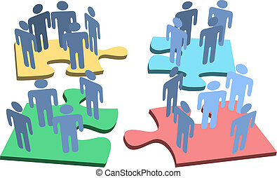 グループ, 人々, 困惑, 解決, 小片, 人間, 構成