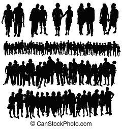 グループ, 人々, 大きい, 恋人, ベクトル, シルエット