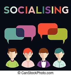 グループ, 人々, 媒体, スピーチ, 社会, 泡