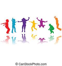 グループ, 手, シルエット, 跳躍, 引かれる, 子供