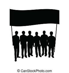 グループ, 旗, シルエット, 人々