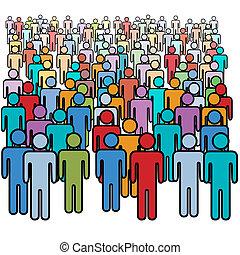 グループ, 群集, 人々, 大きい, 色, 社会, 多数
