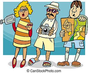 グループ, 観光客, イラスト, 漫画