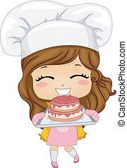 ケーキ, わずかしか, べーキング, 女の子
