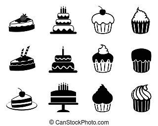 ケーキ, セット, アイコン