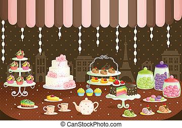 ケーキ, ディスプレイ, 店