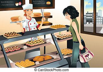 ケーキ, パン屋, 購入, 店
