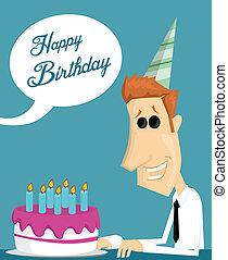 ケーキ, birthday, 労働者, 漫画, オフィス