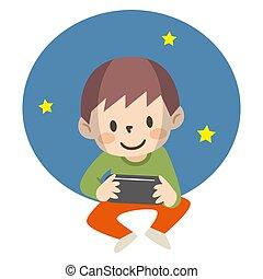 ゲームを すること, 夜, イラスト, 男の子