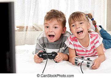 ゲーム, ビデオ, 遊び, 家族, 幸せ
