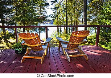 コテッジ, 椅子, 森林, デッキ