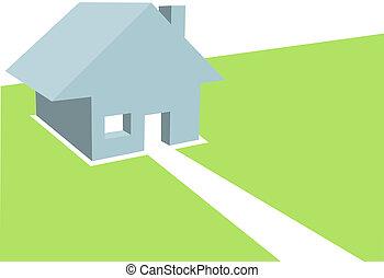 コピースペース, 住宅の, イラスト, 家, 家, 3d