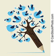 コミュニケーション, 概念, 木, 鳥, 鉛筆