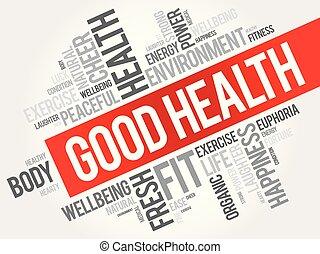 コラージュ, 健康, よい, 単語, 雲