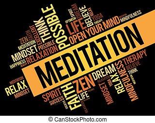 コラージュ, 瞑想, 単語, 雲