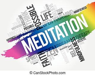 コラージュ, 瞑想, 雲, 単語