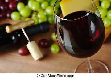 コルクせん抜き, チーズ, びん, glass), 前部, フォーカス, コルク, ガラス, フォーカス, 縁, 背景, (selective, ブドウ, 赤ワイン