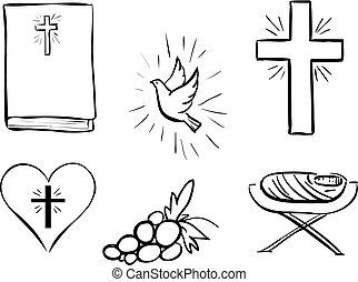 コレクション, クリスマス, アイコン, cristian