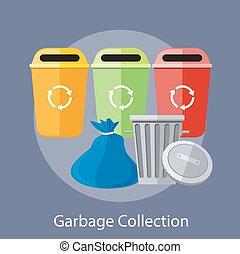 コレクション, リサイクル, 缶, ごみ