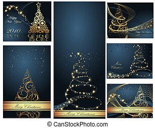 コレクション, 陽気, 年, 新しい, クリスマス, 幸せ