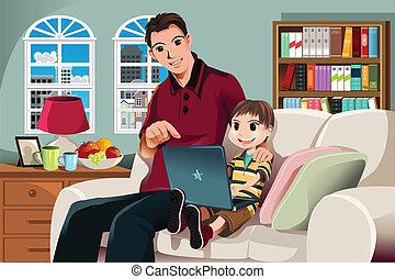 コンピュータを使って, 父, 息子