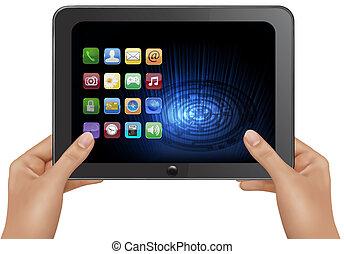 コンピュータ, タブレット, デジタルのイラスト, ベクトル, icons., 手を持つ