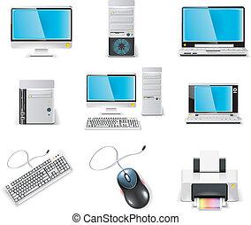 コンピュータ, icon., ベクトル, 白