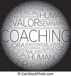 コーチ, 概念, 言葉, t, 関係した