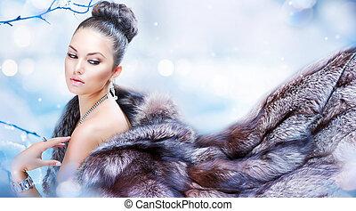 コート, 女, 毛皮, 冬, 贅沢
