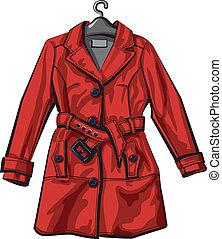 コート, 赤, 雨