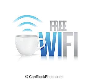 コーヒー, 概念, wifi, イラスト, 大袈裟な表情をしなさい, デザイン, 無料で