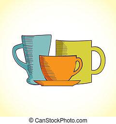 コーヒー, 色, 3, 隔離された, カップ, 背景, 白