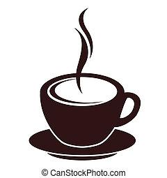 コーヒー, 蒸気, シルエット, 白いコップ