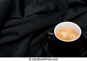 コーヒー, 黒, ひだのある布, カップ