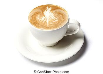 コーヒー, barista, カップ, 上に, 隔離された, 白