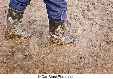 ゴム, 泥だらけである, ブーツ