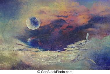 サイエンスフィクション, デジタル, 月, 図画, 風景