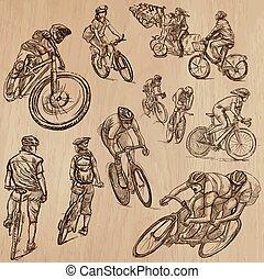 サイクリング, -, 手, ベクトル, 引かれる, パック