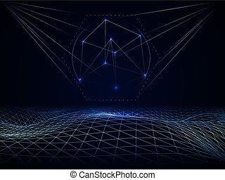 サイバースペース, 抽象的, 格子, 波