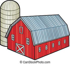 サイロ, 穀倉, 赤, (barn, 納屋