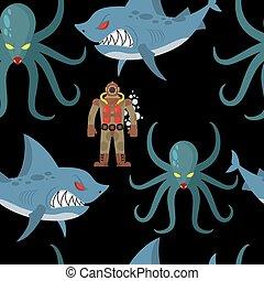サメ, 古い, ダイビング, pattern., 装飾, ひどい, seamless, ダイバー, バックグラウンド。, ベクトル, 黒い海, スーツ, 世界, タコ, モンスター, 悪賢い