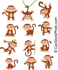 サル, 幸せ, セット, コレクション, 漫画