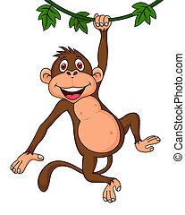 サル, 漫画, かわいい, 掛かること